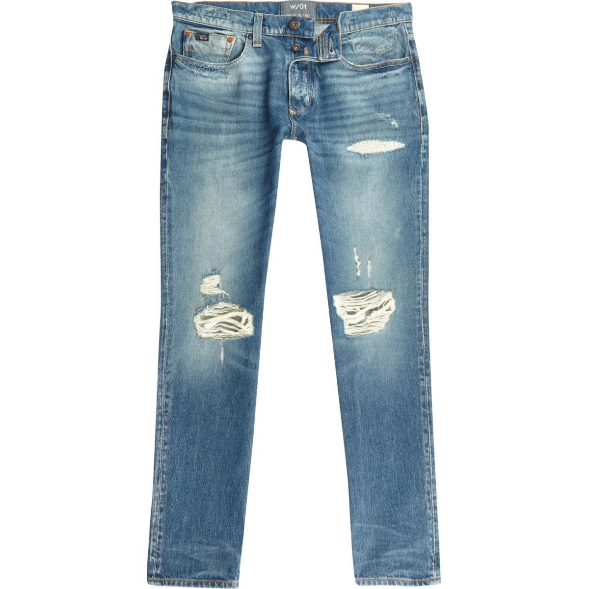 Sid – Jean skinny en fil de chaîne bleu délavé et déchiré