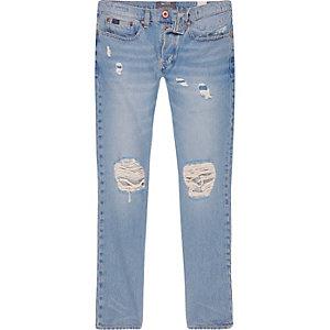 Sid – Jean skinny en fil de chaîne bleu clair délavé et déchiré