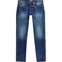 Dark blue faded Sid skinny warp jeans