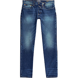 Dark blue faded Sid skinny warp jeans
