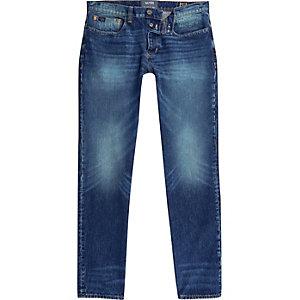Sid – Jean skinny en fil de chaîne bleu foncé délavé