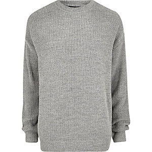 Grey oversized fisherman sweater