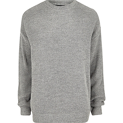 Grey oversized fisherman jumper