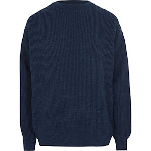 Blue oversized fisherman jumper