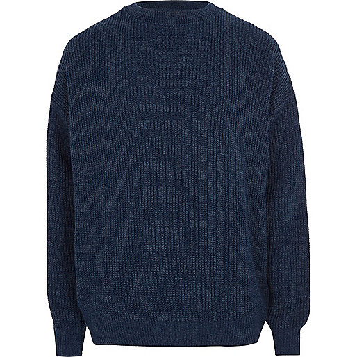 Blue oversized fisherman sweater