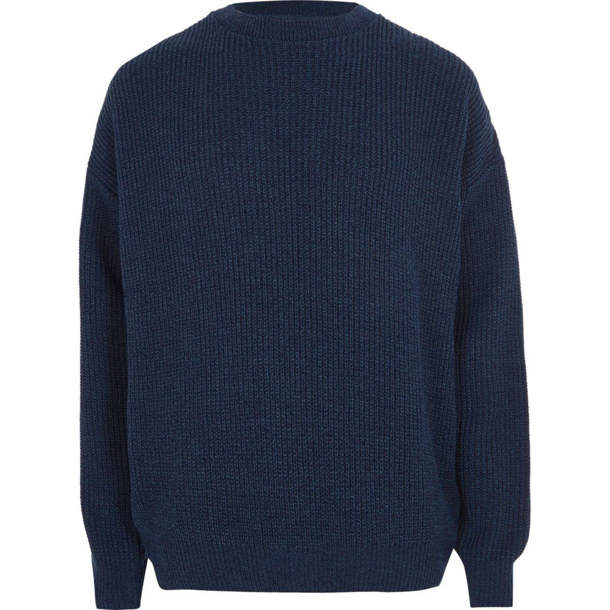 Blauer Oversized-Pullover