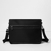 Black foldover satchel bag