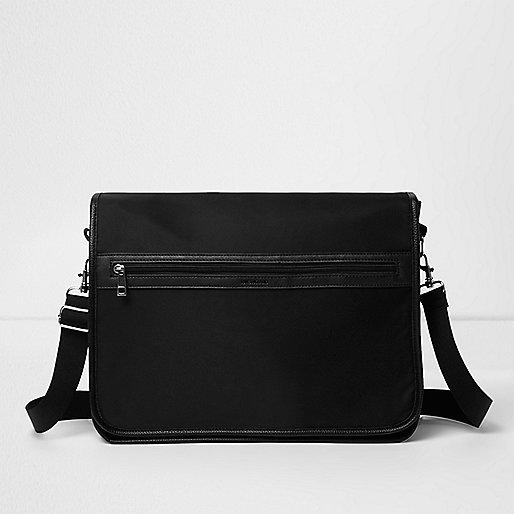 Black foldover satchel bag