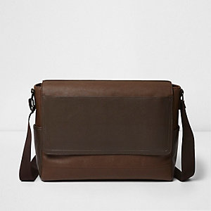 Tan brown foldover satchel bag
