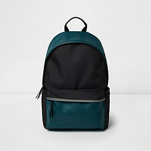 Black and teal colour block backpack