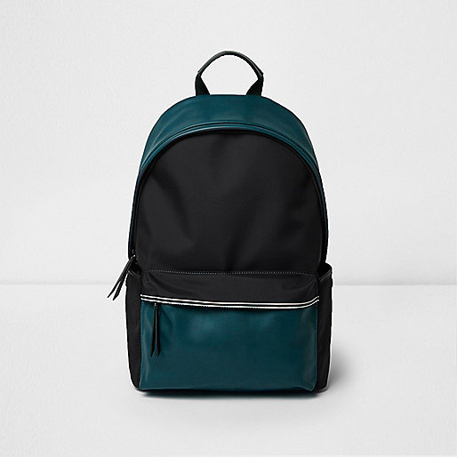 Black and teal color block backpack