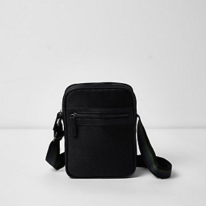 Black geo embossed cross body flight bag