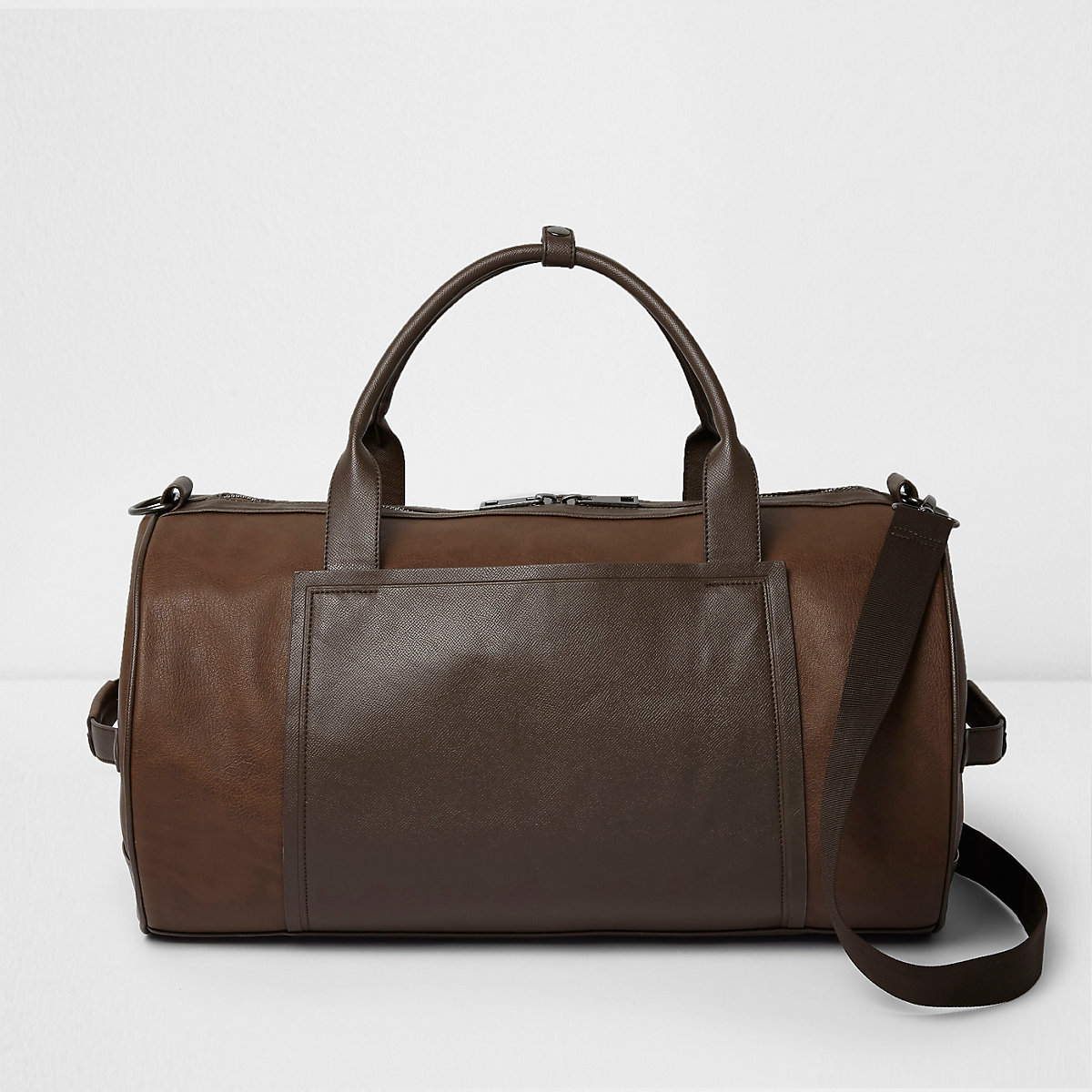 Tan brown faux leather panel holdall