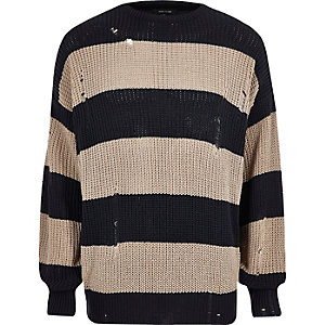 Dark grey stripe oversized fisherman jumper