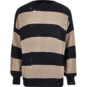 Dunkelgrauer, gestreifter Oversized-Pullover