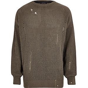 Dunkelgrüner, gestrickter Oversized-Pullover