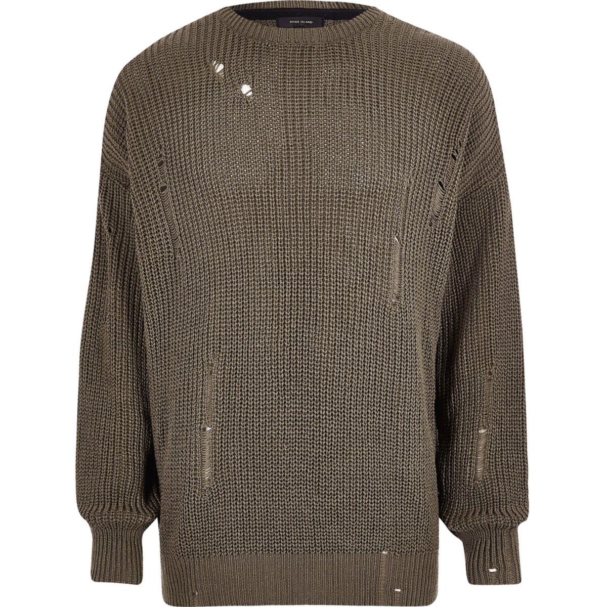 Dark green knit oversized fisherman sweater