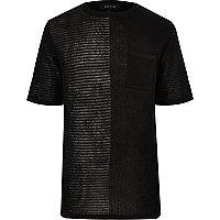 Black spliced knit mesh oversized T-shirt