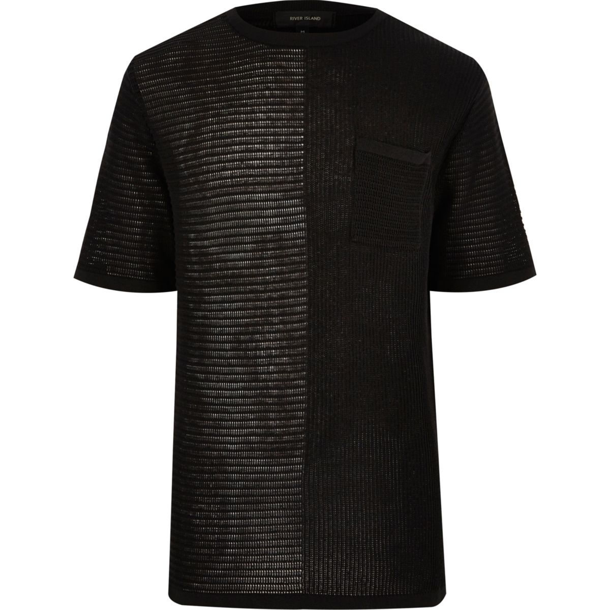 Black spliced knit mesh oversized T-shirt