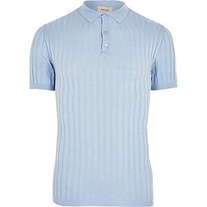 Light blue muscle fit ribbed knit polo shirt