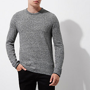Grey textured knit slim fit crew neck sweater