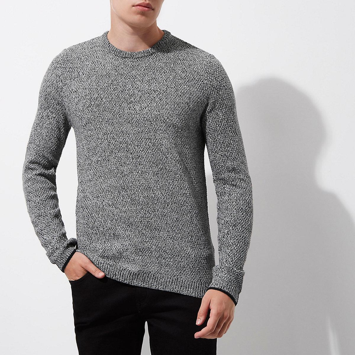 Grey slim fit textured crew neck sweater