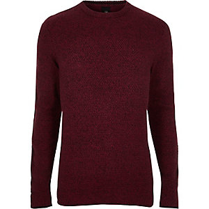 Red textured knit slim fit crew neck sweater