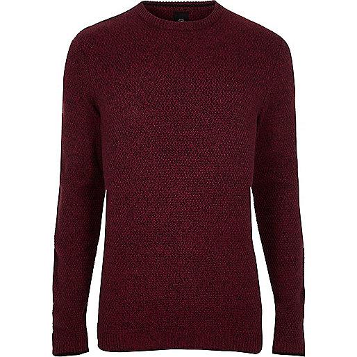 Red knit crew neck slim fit jumper