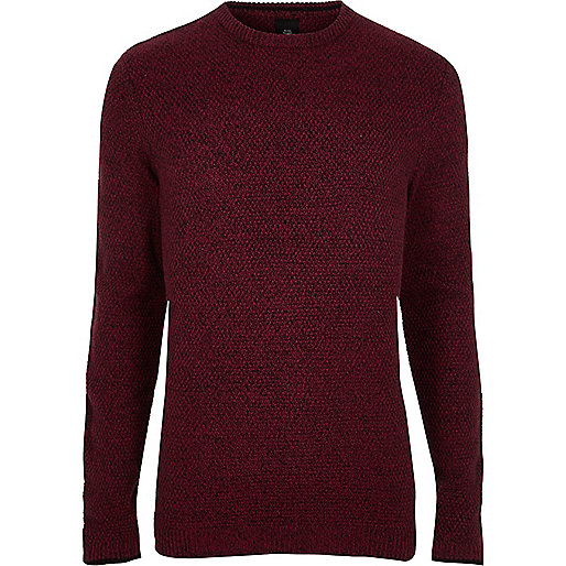 Red knit crew neck slim fit sweater