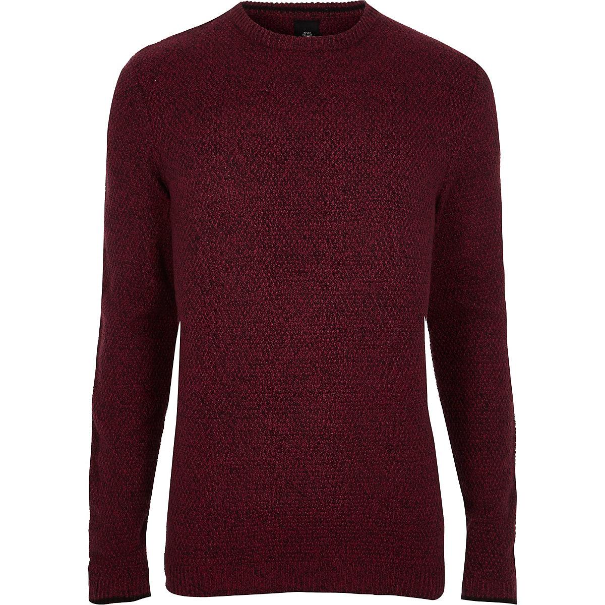 Red textured knit slim fit crew neck jumper