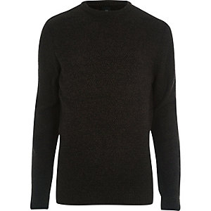 Black textured knit slim fit crew neck sweater