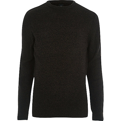 Black textured knit slim fit sweater
