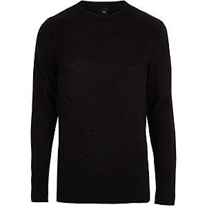Navy knit crew neck slim fit sweater