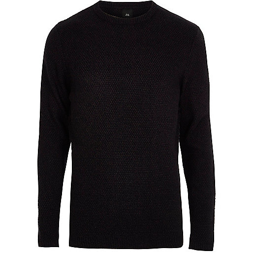 Navy knit crew neck slim fit jumper