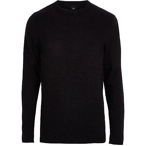 Navy knit crew neck slim fit sweater