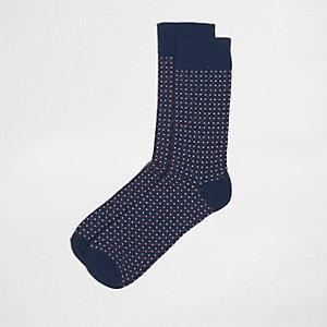 Chaussettes imprimé pois géométriques bleu marine