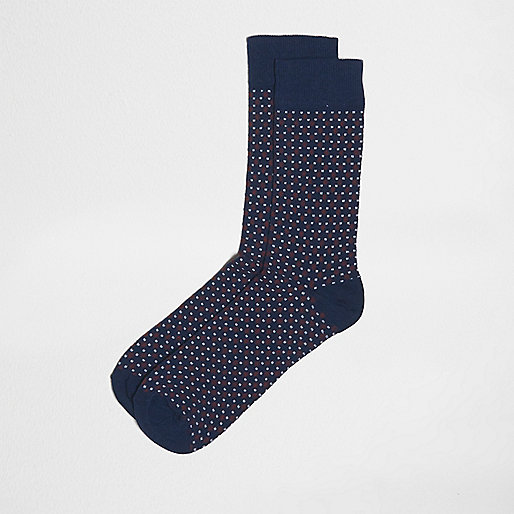 Navy geometric spot print socks