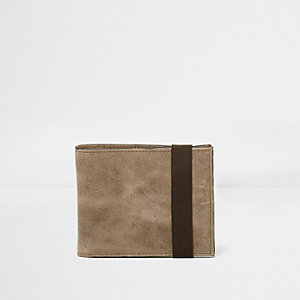 Light brown leather elastic wallet