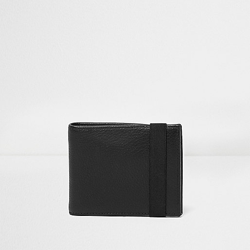 Black leather elastic wallet