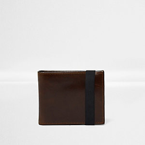 Portefeuille en cuir marron foncé avec élastique