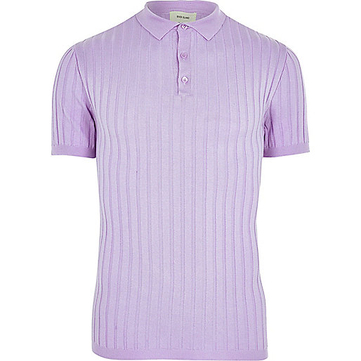 Light purple muscle fit ribbed polo shirt
