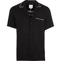Black crane print short sleeve revere shirt