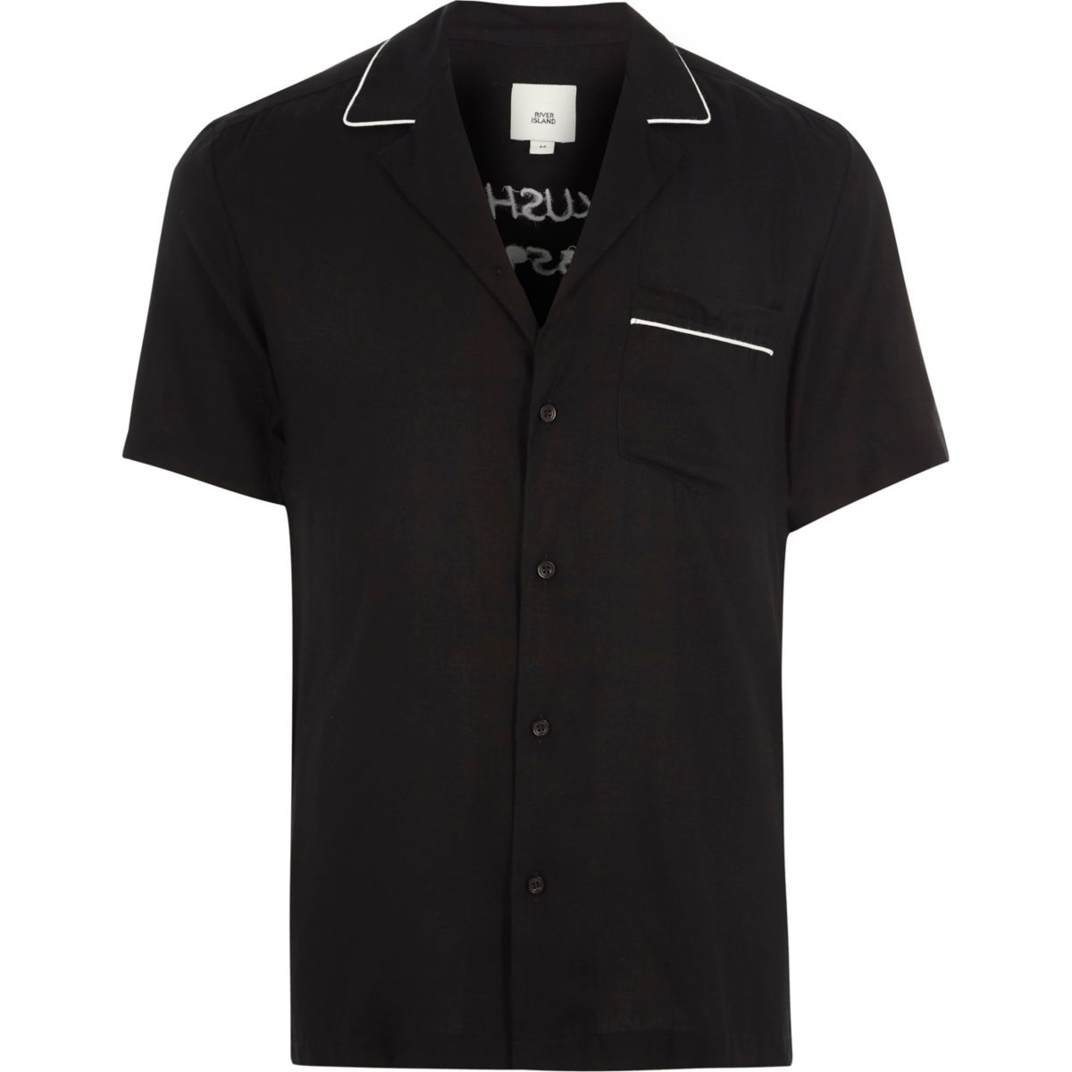 Black crane print short sleeve revere shirt