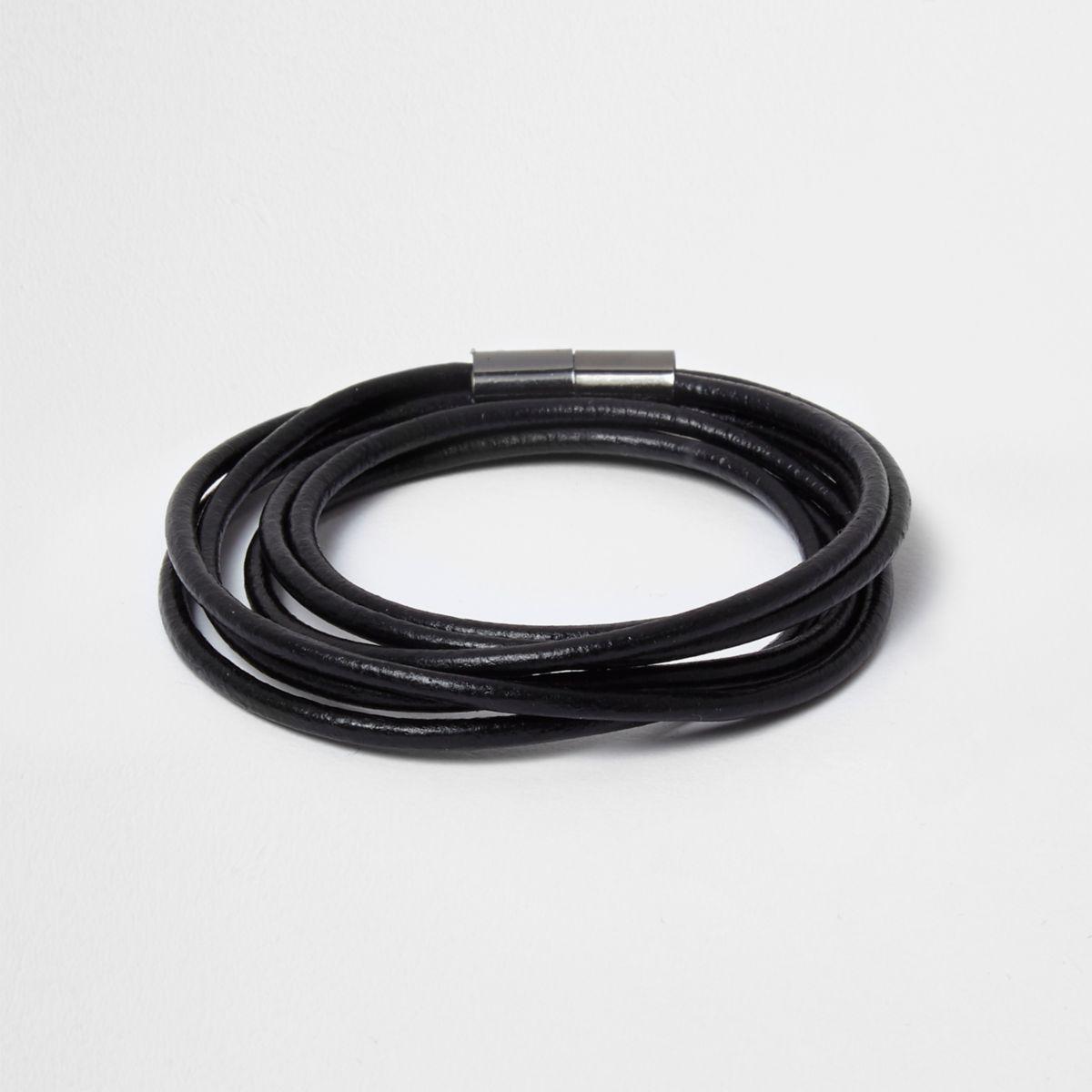 Zwarte magnetische wikkelarmband