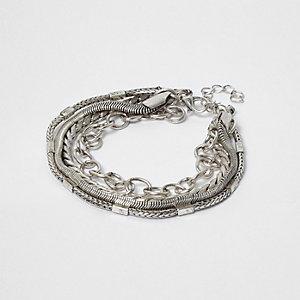 Silver tone multi chain bracelet