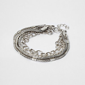 Silbernes mehrreihiges Kettenarmband