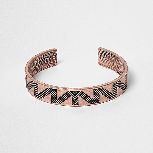 Rose gold tone aztec cuff bracelet
