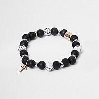 Blue bead cross bracelet