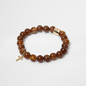 Brown bead cross bracelet