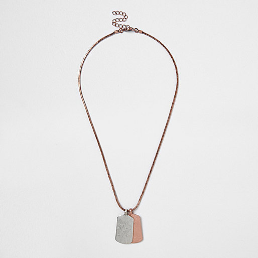 Rose gold tone dog tag necklace